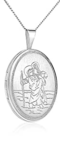 "Sterling Silver Oval Hand Engraved Saint Christopher Locket Necklace with 18"" Silver Link Chain -Hand-Engraved- By Regetta Jewelry"