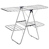 SONGMICS 2-Level Clothes Drying Rack, Stainless Steel Laundry Rack with Height-Adjustable Wings, Free-Standing Laundry Stand, for Socks, Bed Linen, Clothing, Foldable, Stable, Blue ULLR53BU