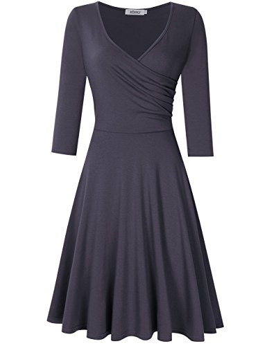 MISSKY Elegant Dresses for Women V Neck Long Sleeve Dresses for Women Swing Dress (M, Grey-2 / Long Sleeve)