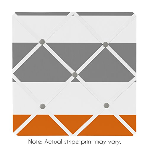 Sweet Jojo Designs Gray, Orange and White Fabric Memory/Memo Photo Bulletin Board for Stripe Collection by Sweet Jojo Designs