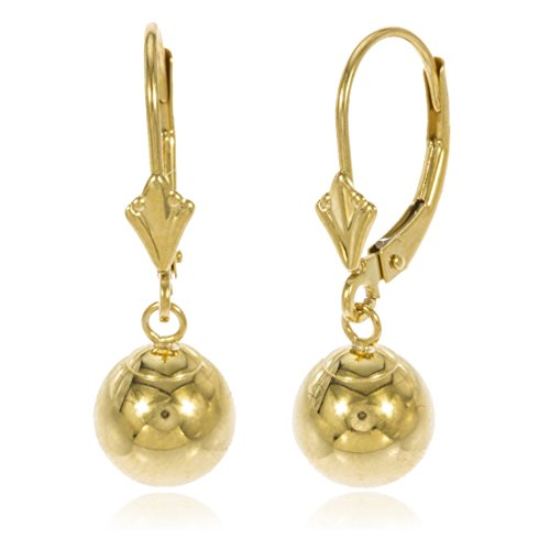 14k Yellow Gold 8mm Dangle Ball Drop Leverback Earrings (GO-573) ()