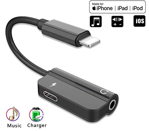 Headphones Adapter for iPhone 11 Headphone Jack Splitter 3.5mm Adapter Compatible with Phone 7/7 Plus/8/8 Plus/X/Xr/Xs/Xs Max/ - for All iOS Charging and Listening to Music - Black