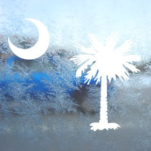 PALMETTO TREE MOON SC FLAG White Decal Window White Sticker
