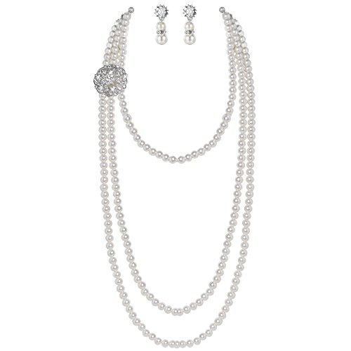 BABEYOND 1920s Gatsby Pearl Necklace Vintage Bridal Pearl Necklace Earrings Jewelry Set Multilayer Imitation Pearl Necklace with Brooch (Style 1) (Pearl Long Chain Necklace)