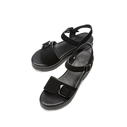Sandalias Punta Tacón Moda Altos Sólido bajo Ocasionales Verano Sandalias Zapatillas de de de Sandalias Tacones Planas de 39 Mujer de DHG de Color Negro Dulces 6FHxqw8qz