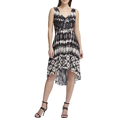DKNY Womens Printed Knee-Length Party Dress Black 10 (Dkny Dress Women)