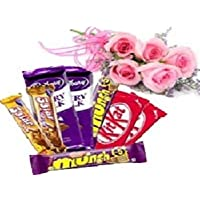 Yupflowers Pink Roses & Assorted Chocolates Bouquet