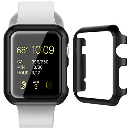 CinoCase Apple Watch Series 1 / 2 Case, 38mm Thin Fit Snap-On PC Hard Protective Bumper Case Premium Slim & Light Scratch-Resistant and Shockproof Cover for Apple Watch Series 1 / 2 (Black)