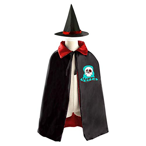 (69PF-1 Halloween Cape Matching Witch Hat Blue Skull Skeleton Wizard Cloak Masquerade Cosplay Custume Robe Kids/Boy/Girl Gift)