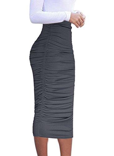 (VFSHOW Womens Elegant Grey Ruched Ruffle High Waist Pencil Midi Mid-Calf Skirt 2277 Gry S)