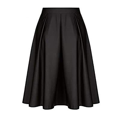 NREALY Skirt Womens Vintage Solid Princess Ruffled Cocktail Party A-line Swing Skirt