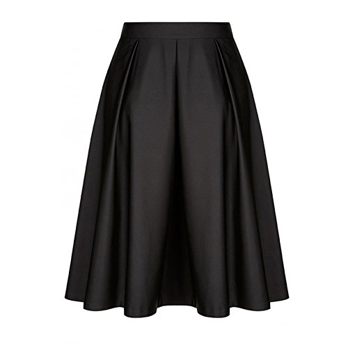 DEATU Women Skirt Ladies Elegance Vintage Solid Princess Ruffled Cocktail Party A-line Swing Skirt(Black ,XL) -