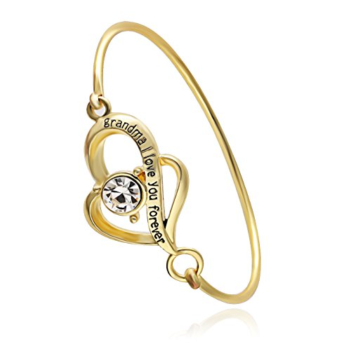 SENFAI Grandma I Love You Forever Two Heart Hook Open Bracelet Bangle (gold) - Heart Hook Bracelet