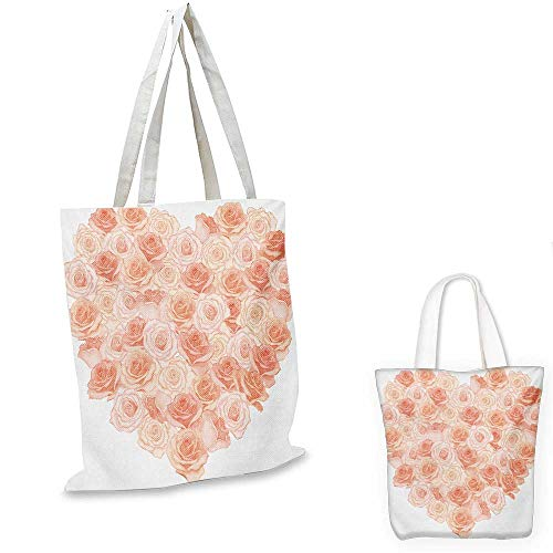 Peach portable shopping bag Love Valentines Day Inspired Heart Shaped Blooming Roses Bouquet Romantic Design shopping bag for women Salmon Peach. 12
