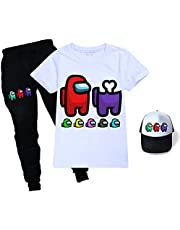 Among Us T Shirt Set T Shirt + Trousers+Sunhat Unisex Fashion Among Us Pullover T-Shirt for Boys Girls