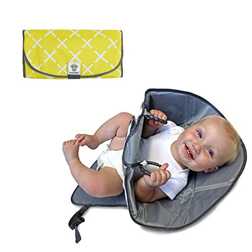 SnoofyBee Portable Clean Hands Changing Pad. 3-in-1 Diaper Clutch, Changing Station, and Diaper-Time Playmat with Redirection Barrier for Use with Infants, Babies and Toddlers. (Yellow)