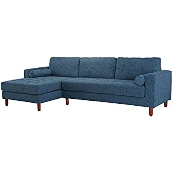 Delicieux Divano Roma Furniture Mid Century Modern Tufted Fabric Sectional Sofa,  L Shape Couch With Extra Wide Chaise Lounge (Dark Blue)