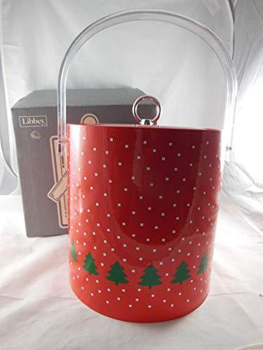 Vintage Libby Winterland Christmas Bucket 3 Quart with Padded Lid Chrome Knob and acrylic Handle -