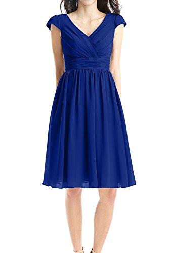 Partykleid Linie Abendkleid Ausschnitt Ivydressing Ruecken Reissverschluss Aermel Festkleid kurze Chiffon Falte V Royalblau Sweetheart Ballkleid A Mini Z7xpT