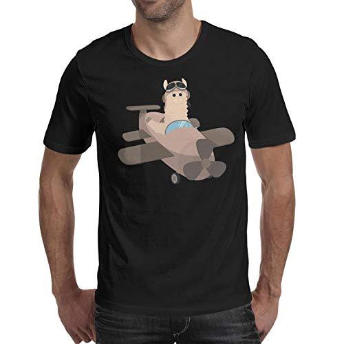 Aviator Large Pin - TTYUN Young Men Black Tshirts Aviator Cute Llama O-Neck Short Sleeve Cotton