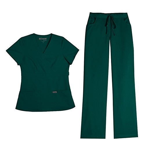 Grey's Anatomy Women's Mock Wrap Top 4153 & Drawstring Pant 4232 Scrub Set (Hunter Green - X-Small/Small) -