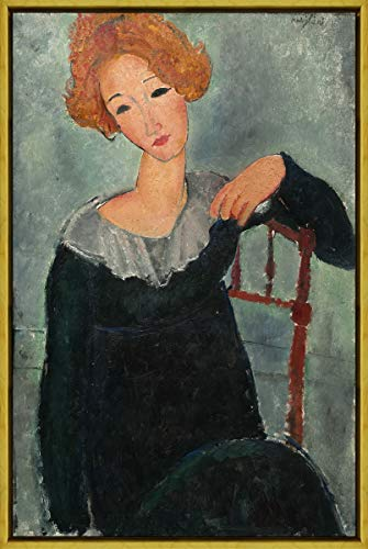 Berkin Arts Framed Amedeo Modigliani Giclee Canvas Print Paintings Poster Reproduction(Woman with Red Hair) - Modigliani Poster Modern