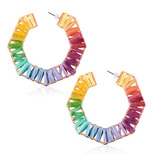 Statement Rainbow Rattan Drop Hoop Earrings for Women Handmade Raffia Geometric Octagon Earrings Lightweight Colorful Straw Dangle Earrings for Friend Vacation with Gushion Gift Box GUE141 Colorful]()