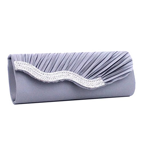 Satin Crystal Grey Clutch SUMAJU Womens Wavy Handbag Prom Purse Bag Evening Bridal Wedding SEw6gq