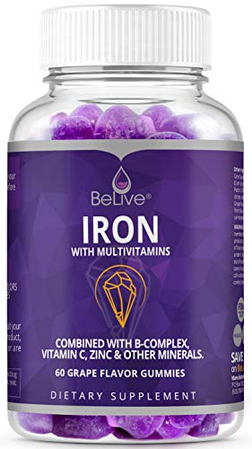 Iron Gummies with Vitamin C, Biotin, Zinc, Vitamins B Complex for Kids and Adults - Helps with Anemia, Boosts Hemoglobin, Improves Concentration & Other Healthy Functions - 60 Grape Flavored Gummy