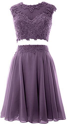 MACloth Women Vintage 2 Piece Prom Homecoming Dress Lace Wedding Party Gown Wisteria lJGuuFHipd