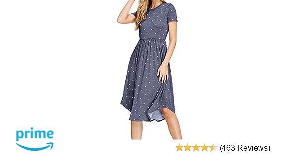 244545d3eb0 Simier Fariry Women Summer Pleated Polka Dot Pocket Loose Swing Casual Midi  Dress at Amazon Women s Clothing store