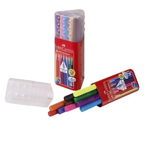 Faber-Castell- Triangular Plastic Case Of 10 Grip Colour Markers