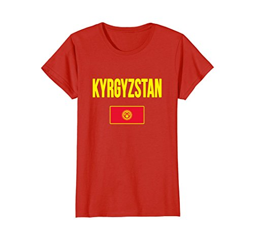 Womens Kyrgyzstan Flag T-shirt Large Red