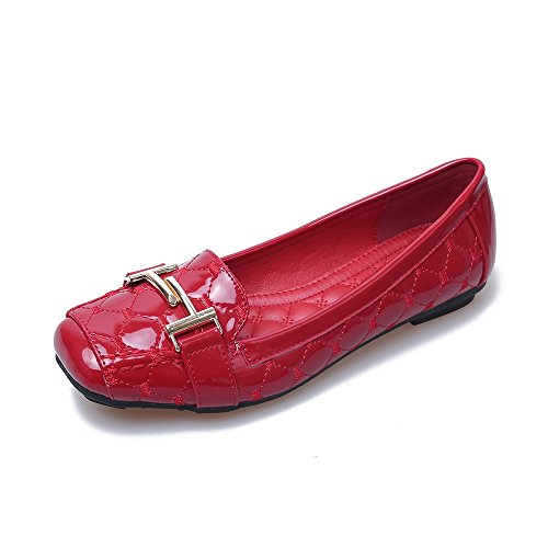 Red Patent Leather Ballerina Flat Shoes (Meeshine Womens Buckle Slip On Loafer Casual Low Flats Square Toe Shoes Red 8.5 US)