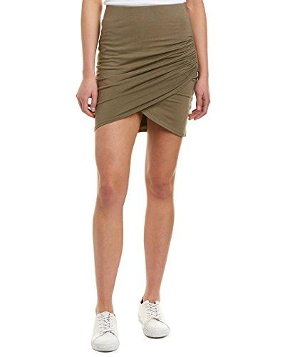 Michael Stars Women's Cotton Lycra Cross Front Mini Skirt, Olive Moss, Large (Star Skirt Big Mini)