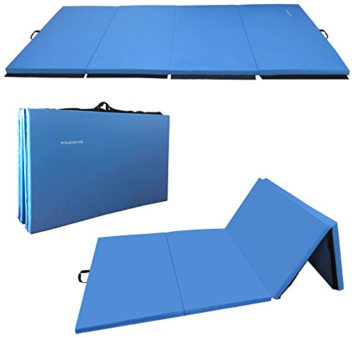 BalanceFrom GoGym All-Purpose 4'x10'x2 Extra Thick High Density Anti-Tear Gymnastics Gym Folding Exercise Aerobics Mats (Blue) (Exercise Equipment Mat Blue)