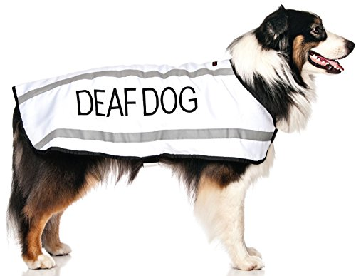 DEAF DOG White Warm Dog Coats S-M M-L L-XL Waterproof Reflective Fleece Lined (No/Limited Hearing) Prevents Accidents By Warning Others of Your Dog in Advance (L-XL Back 23″ (59cm)