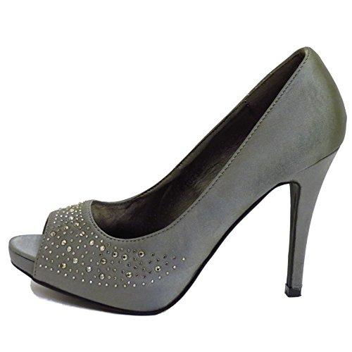 Damen Zinn zum Reinschlüpfen Satin Pumps Peep-Toe Brautjungfer Abend Ball Schuhe Größen 3-8