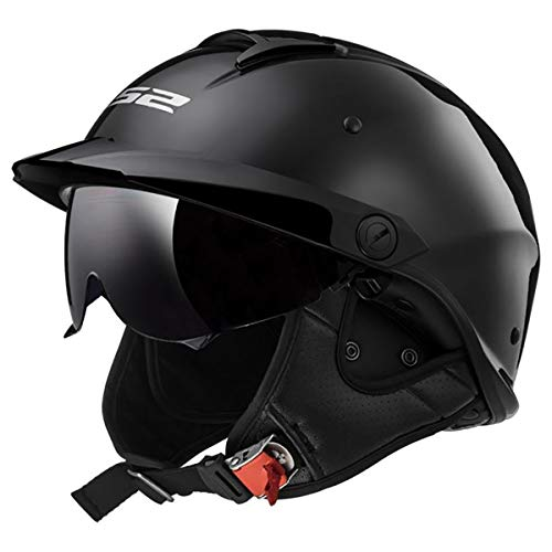 LS2 Helmets Rebellion Unisex-Adult Half Helmet Motorcycle Helmet (Gloss Black, XX-Large)