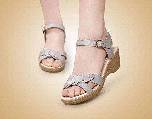 Girls L@YC Women Sandals Non Slip 2017 Slope With Soft Leather In The High Heeled Shoes , white , 35