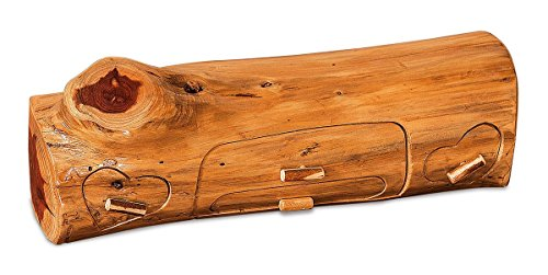 Red Cedar Log Jewelry Box (2 Heart Drawers & Double Middle Drawer) (Accents Log Cedar)