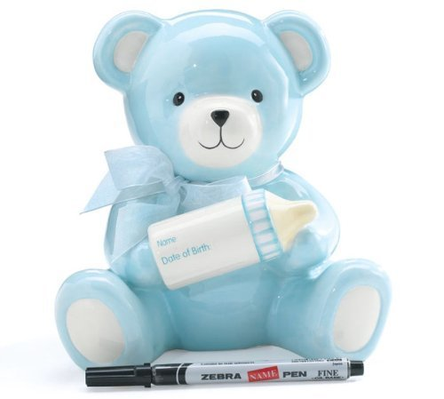 Baby Boy's Blue Bear Piggy Bank Holding Baby Bottle With Birth Information Infant Nursery Decor And Birth Gift by Burton & (Baby Information Bank)