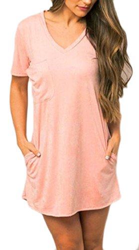 Womens Sleeve V Tunic Dress Solid Pink Shirt Casual Jaycargogo Short Neck Mini dqUadY