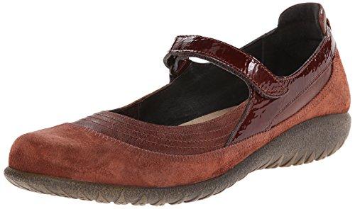 Naot Women's Kirei Mary Jane Flat, Luggage Brown Leather/...