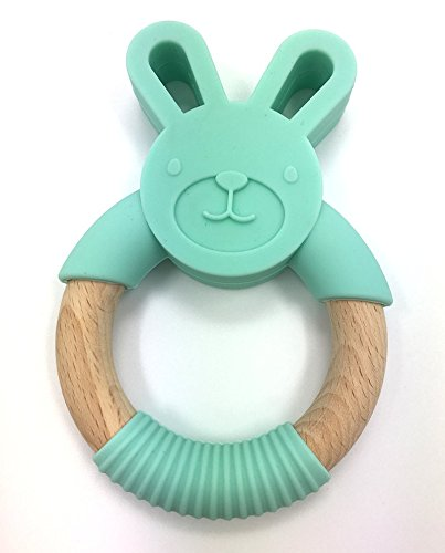 Soothe Baby/'s Sore Gums Natural Beech and Silicone Bunny Teething Ring Promote Fine Motor Skills | Eco Friendly Fun Pink
