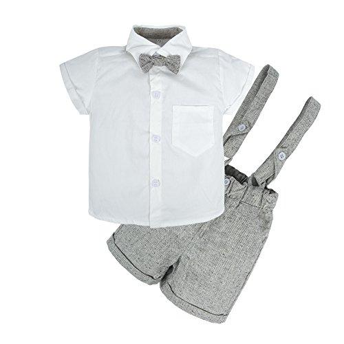 BIG ELEPHANT Baby Boys 2 Pieces Short Sleeve Shirt Suspender Shorts Set U51-B-90 12-18 Months - Newborn Boys 2 Piece Overall