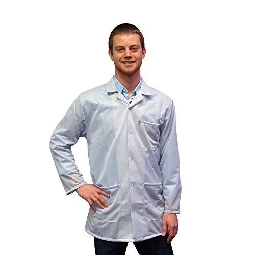 - Static Control ESD Shielding Collared Lab Coat with Snap Cuffs | Durable Medium Weight Fabric | StaticTek Certified Level 3 Grounding Anti-Static Work Place Smock | White | XL | TT_JKC9025SPWH