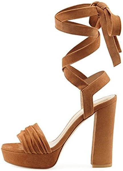cca93d2ef993 Amazon.com  Stuart Weitzman Suede Lace-Up High Heel Size 8.5 Toffee ...