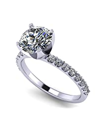 NANA Round Brilliant Cut Solitaire Engagement Ring Made with Pure Brilliance Swarovski Zirconia
