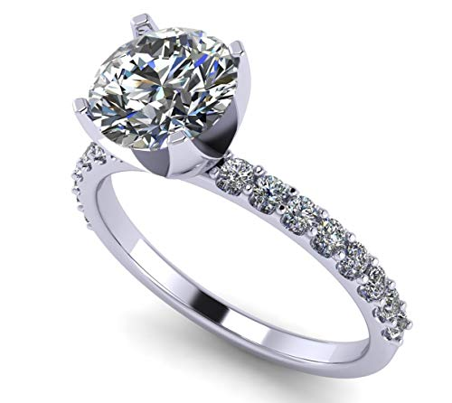 NaNa Silver 9.0mm (3ct) Round Cut Zirconia Solitaire Engagement Ring-Platinum Plated-Size 6.5